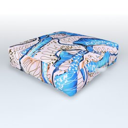 Summer Rose Flowers Illustration Outdoor Floor Cushion