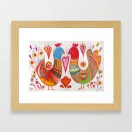 Folk Love Birds Framed Art Print