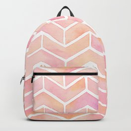 Cute Pink Ombre Watercolor Chevron Pattern Backpack