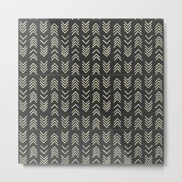 Mud cloth | Black and White Arrows Metal Print