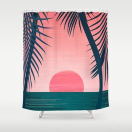 Tropical Sunset Scene - Pink and Emerald Palette Shower Curtain