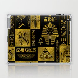 Egyptian  Gold hieroglyphs and symbols collage Laptop & iPad Skin