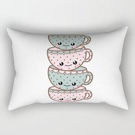 Stack of Tea Cups Rectangular Pillow