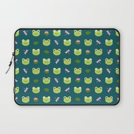 Frogs, Dragonflies and Lilypads on Teal Laptop Sleeve