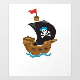 Animal Pirates Animal Pirate Ship Pirate Themed Birthday Art Print