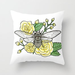 Cicada with Roses Throw Pillow