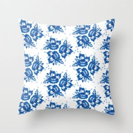 Vintage shabby Chic Seamless pattern with blue flowers and leaves. Vector Throw Pillow