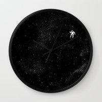 gravity Wall Clocks featuring Gravity by Tobe Fonseca