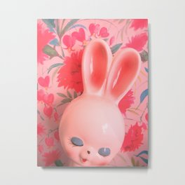 #1 Bunny With Carnations Metal Print