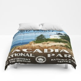Vintage poster - Acadia National Park Comforters