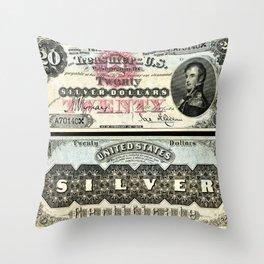 Vintage 1878 US $20 Dollar Bill Silver Certificate Wall Art Throw Pillow