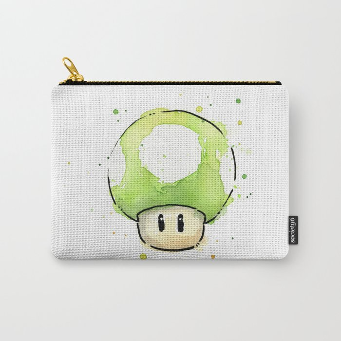 1UP Green Mushroom Painting Mario Gaming Geek Videogame Art Carry-All Pouch