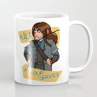 kili Mugs featuring Kili at Your Service by Hattie Hedgehog