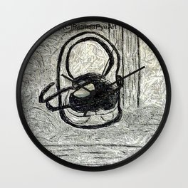 egg in a shoe in charcoal and graphite  Wall Clock