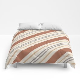 Cavern Clay SW 7701 and Accent Colors Thick and Thin Angled Lines Triple Stripes 1 Comforters