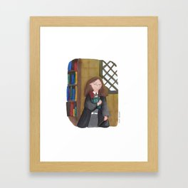 Hermione at the library Framed Art Print