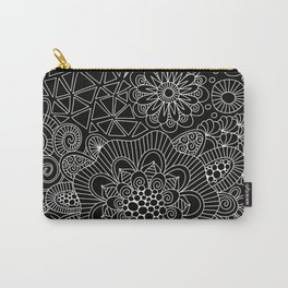 Black Doodle Pattern Carry-All Pouch