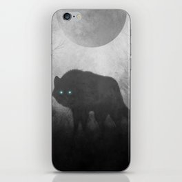 Black and White Wolf Moon Silhouette  iPhone Skin
