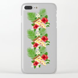Hawaiian Pizza in a Hawaiian Print Clear iPhone Case