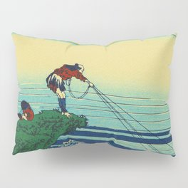 Vintage Japanese Art - Man Fishing Pillow Sham