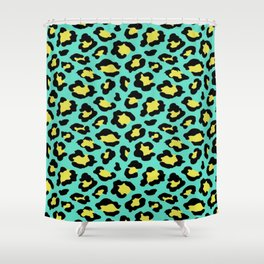Leopard print neon green and yellow Shower Curtain