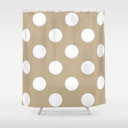 Large Polka Dots - White on Khaki Brown Shower Curtain