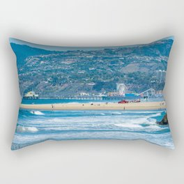 Rare view of Santa Monica, Pier & Pacific Palisades from Venice Pier Rectangular Pillow