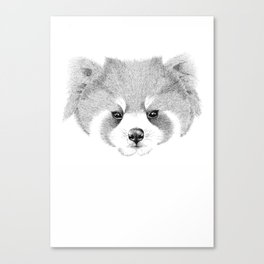 'The Red Panda' pointillism drawing with ink Canvas Print