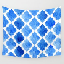 Quatrefoil pattern in shades of blue Wall Tapestry