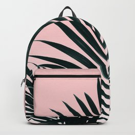 Tropical Green palm tree leaf blush pink gradient photography Backpack