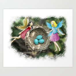Tree Fairies At The Robin Nest Art Print
