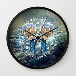 Ocean Jewels Mother Of Pearl And Jellyfish Wall Clock