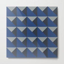 Blue + Gray Origami Geo Tile Metal Print