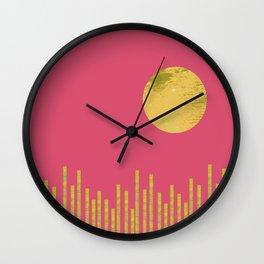 Yellow Moon Rising Wall Clock