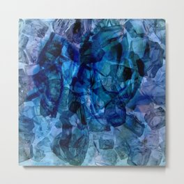 Blue Chrystal Ice Abstract Metal Print