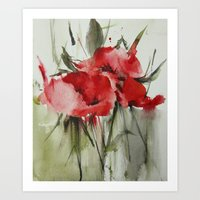 poppy Art Prints featuring poppy# by beautifyprints