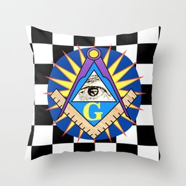 Masonic Square & Compass On Blue Disc Throw Pillow