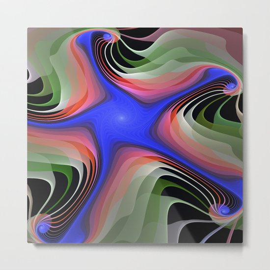 Connections, colourful modern fractal abstract Metal Print