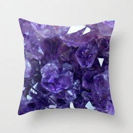 Raw Amethyst - Crystal Cluster Throw Pillow