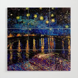 Over the rhone(starry night) Wood Wall Art