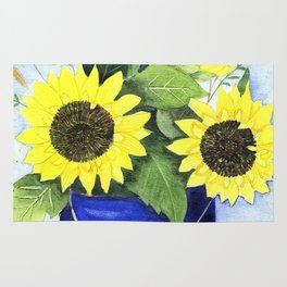 Watercolor sunflower bouquet in bucket Rug