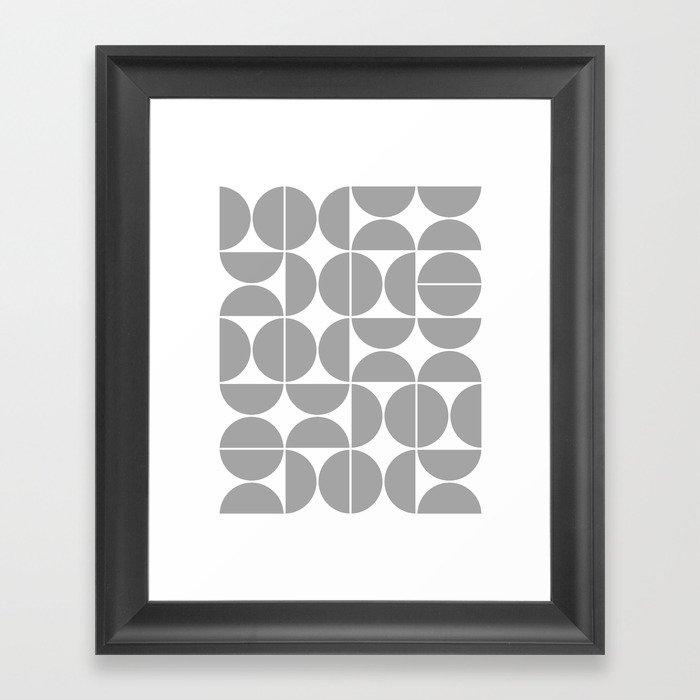 Mid Century Modern Geometric 04 Grey Gerahmter Kunstdruck