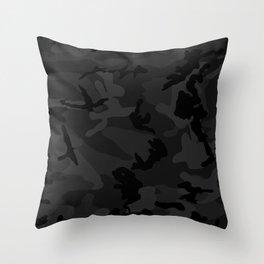 Camouflage Black Throw Pillow