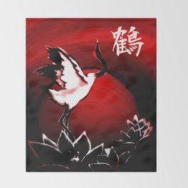 Japanese Crane Throw Blanket