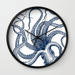 Octopus Navy Wall Clock