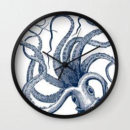 Octopus Navy Wall Clock