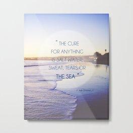 Salt Water Quote, Ocean Photography Metal Print