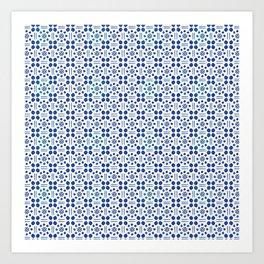 indigo clover tiles Art Print