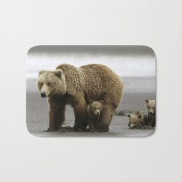 Stunning Adult Grizzly Bear Mother On Adventure With Super Cute Little Cubs Ultra HD Bath Mat