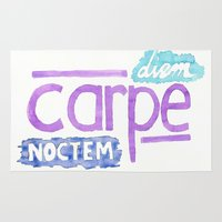 carpe Area & Throw Rugs featuring carpe diem / carpe noctem by maple